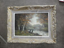 mid Century French Impressionist Antique Oil Painting panel LANDSCAPE frame old