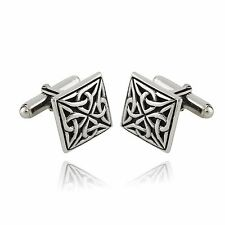 Square Celtic Cufflinks - 925 Sterling Silver - Trinity Knot Mens Cuff Links NEW