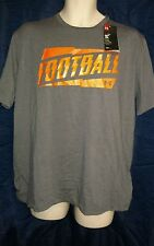 NWT Men's Under Armour Football HeatGear Graphic Loose Fit Shirt Grey/Orange Lg