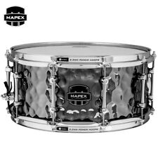 """Mapex ARMORY Daisy Cutter 14"""" Hammered Steel Snare Drum ARST465HCEB Black Chrome"""