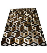 New 3D Design size 4x6 cowhide leather patchwork rug leather carpet home office