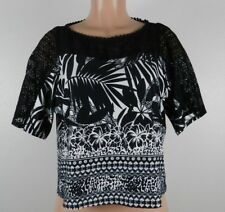 e0604626ad6dab Figueroa   Flower Women s SS Crew Neck Blouse-Black White Multi Pattern-