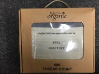 4pcs Full Size Organic Cotton Man Bed Sheet Set 600 TC, Grey Black