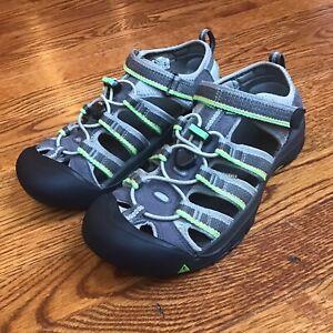 Keen Boys Newport H2 1014266 Racer Grey / Green Waterproof Sport Sandals Sz 5