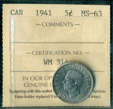 1941 Canada King George VI Five Cent ICCS MS-63  WM 314