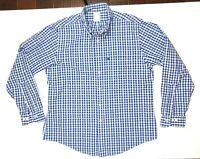 Brooks Brothers 346 Men's Slim Fit Blue Plaid Button-Down Shirt Cotton Size L