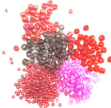 Pink Red Mixed Seed Bead Destash SALE Chinese 11/0 6/0 Bugle 130 Gram Lot #36