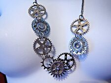 STEAMPUNK Bronze & silver gears sweater chain bib necklace cog clock-work new Z6