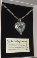 """Memorial Locket Necklace Heart Aqua Stone 24"""" Chain Pewter In Loving Memory New"""