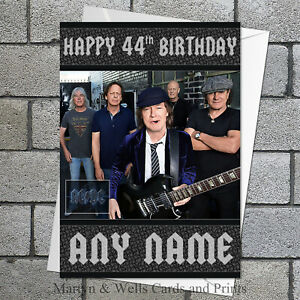 AC/DC personalised birthday card. 5x7 inches. ACDC. Rock, Metal. Plus envelope.
