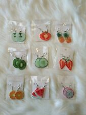 9 Cute Fashion Womens 3D Fruit Jewelry Earrings set lot bundle apple kiwi orange