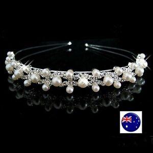 Women Girls Wedding Crystal Pearl Hair Band Headband Hoop Tiara Crown headpiece