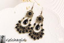 Fashion Bohemian Style Gold Black Tear-Drop Dangle Chandelier Earrings UK Seller