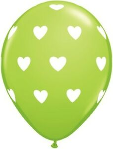 6 x Colourful HEARTS Latex Balloons (Helium/Air)(Valentines/Party/Love) Qualatex
