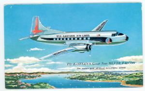 Eastern Airlines Silver Falcon Postcard - Vintage 1950's Glenn L Martin Airplane