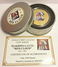 "NEW Indian Chief Series ""RED CLOUD"" 1 Oz Coin C.O.A. Finished in 999 24k Gold"