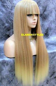 Human Hair Blend Long Straight Bangs Medium Blonde Mix Full Wig Hair Piece 27613