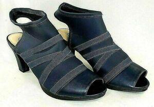 "Bella Vita Shoes 8 1/2 M Navy Blue Fabric Stretch Open Toed Chunky Heels 2.75"""
