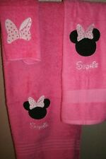 Minnie Mouse Ears Bow Personalized 3 Piece Bath Towel Set  Your Color Choice