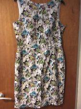 Warehouse Lace Floral Print Dress Cream Green Purple Wedding Party Dress Size 14