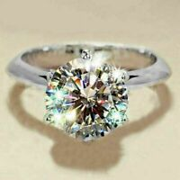 Real 14K Solid White Gold FN 2.00Ct Round Moissanite Anniversary Engagement Ring