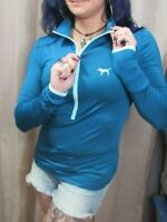 Victoria's Secret Pink Ultimate Pullover Half Zip Track Jacket Teal Blue, S New