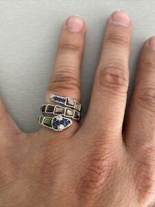 "Judith Ripka 925 SS Black MOP & Blue Sapphire Snake Ring Sz. 5.5 ""For Repair"""
