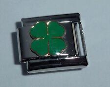 FOUR LEAF CLOVER Classic Italian Charm 9mm LUCKY GOOD LUCK Shamrock 4 E97