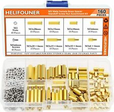 160 Pieces M3 Male Female Hex Brass Spacer Standoff Screw Nut Assortment Kit