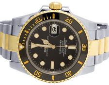 Mens Rolex 18K/ Steel Two Tone Submariner 116613LN 40MM Ceramic Black Dial Watch