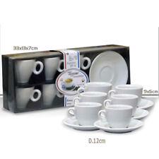 Confezione 6 tazzine caffè Porcellana Bianca bordo doppio + 6 piattini bar caffè