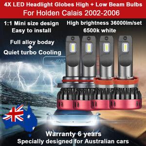 For Holden Calais 2003 2004 2005 4x 36000LM Headlight Globes High Low Beam bulbs