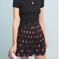Anthropologie Maeve Black Floral Shorts Size Large