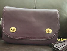 NWT Coach Legacy Leather Double Gusset Flap Handbag F25361 Black Violet $298