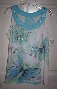 NWT Girls Justice White Blue/White Blouse Shirt Size 18