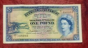 1952 BERMUDA GOVERNMENT 1 POUND P-20a  SCARCE REALLY FRESH CRISP EXTREMELY FINE