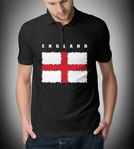 Mens England Polo St. Georges Flag Shirt. Euro 2020 Football Fan Smart Casual