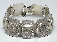 Antikes Silber Armband Glücksarmband m. 6 Glücks Symbolen 835 Silber punz. /A512
