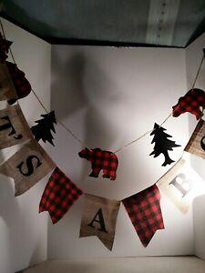 It's A Boy Banner Rustic Burlap Plaid Country Bear