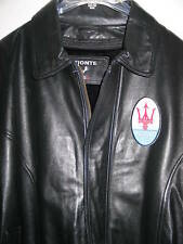 New MASERATI LEATHER  RACING JACKET Black