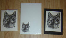 Akita Dog 3 Piece Set-Notepad, 6 Blank Notecards and Print-New
