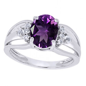 1.35 Ct Oval Cut Purple Amethyst & Topaz 14K Gold Over Solitaire Engagement Ring