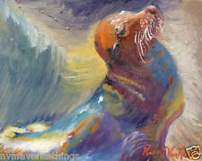 """Sea Lion Seal 8""""x10"""" Limited Edition Oil Painting Print"""