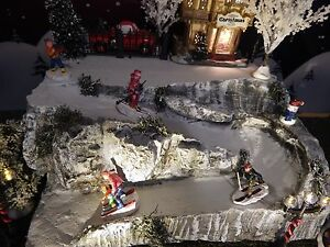 Amazing ROCK SKI SLOPE Christmas Village ENDLESS Add ON Display Platform Dept 56