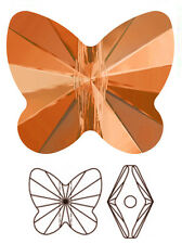 ONE SWAROVSKI CRYSTAL BUTTERFLY BEAD / PENDANT 5754, TANGERINE, 10 MM