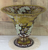 Vintage Hand Painted Spanish Vase Vibrant Colors With Gold Accents