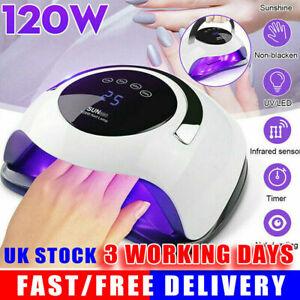 120W LED UV Nail Lamp Polish Dryer Gel Acrylic Curing Light Professional Tool UK