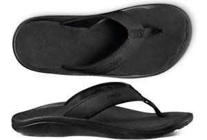Olukai Ohana Black/Black Comfort Flip Flop Men's US sizes 7-18 NWT!!!