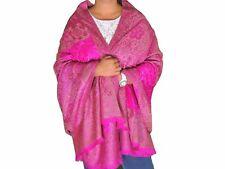 "Magenta Floral Embroidered Warm Kashmir Shawl Evening Wool Dress Wrap Scarf 80"""