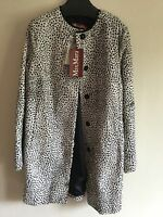 Max Mara Studio Monochrome Leopard Fur Coat Sz Uk 12 Bnwt rrp £1400